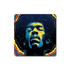 Gabz Jimi Hendrix Voodoo Child Poster Release From Dark Hall Mansion Square Magnet by Onesevenart