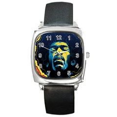 Gabz Jimi Hendrix Voodoo Child Poster Release From Dark Hall Mansion Square Metal Watch by Onesevenart