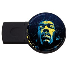 Gabz Jimi Hendrix Voodoo Child Poster Release From Dark Hall Mansion Usb Flash Drive Round (4 Gb) by Onesevenart