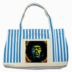 Gabz Jimi Hendrix Voodoo Child Poster Release From Dark Hall Mansion Striped Blue Tote Bag by Onesevenart