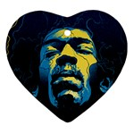 Gabz Jimi Hendrix Voodoo Child Poster Release From Dark Hall Mansion Heart Ornament (Two Sides)