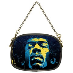Gabz Jimi Hendrix Voodoo Child Poster Release From Dark Hall Mansion Chain Purses (one Side)  by Onesevenart
