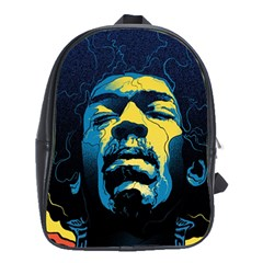 Gabz Jimi Hendrix Voodoo Child Poster Release From Dark Hall Mansion School Bags(large)  by Onesevenart