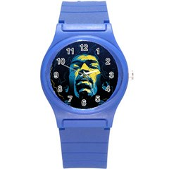 Gabz Jimi Hendrix Voodoo Child Poster Release From Dark Hall Mansion Round Plastic Sport Watch (s) by Onesevenart