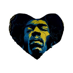 Gabz Jimi Hendrix Voodoo Child Poster Release From Dark Hall Mansion Standard 16  Premium Heart Shape Cushions by Onesevenart