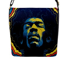 Gabz Jimi Hendrix Voodoo Child Poster Release From Dark Hall Mansion Flap Messenger Bag (l)  by Onesevenart