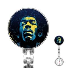 Gabz Jimi Hendrix Voodoo Child Poster Release From Dark Hall Mansion Stainless Steel Nurses Watch by Onesevenart