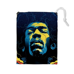 Gabz Jimi Hendrix Voodoo Child Poster Release From Dark Hall Mansion Drawstring Pouches (large)  by Onesevenart