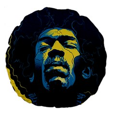 Gabz Jimi Hendrix Voodoo Child Poster Release From Dark Hall Mansion Large 18  Premium Flano Round Cushions by Onesevenart