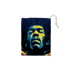 Gabz Jimi Hendrix Voodoo Child Poster Release From Dark Hall Mansion Drawstring Pouches (xs)  by Onesevenart