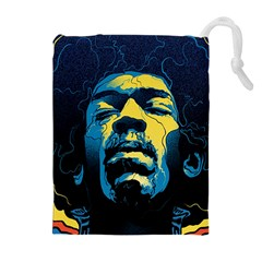 Gabz Jimi Hendrix Voodoo Child Poster Release From Dark Hall Mansion Drawstring Pouches (extra Large) by Onesevenart