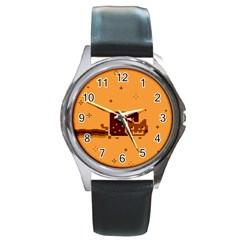 Nyan Cat Vintage Round Metal Watch by Onesevenart