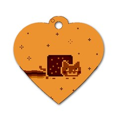 Nyan Cat Vintage Dog Tag Heart (one Side) by Onesevenart
