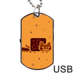 Nyan Cat Vintage Dog Tag Usb Flash (two Sides) by Onesevenart
