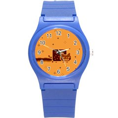 Nyan Cat Vintage Round Plastic Sport Watch (s) by Onesevenart