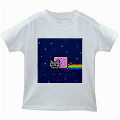 Nyan Cat Kids White T Shirts by Onesevenart