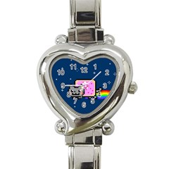 Nyan Cat Heart Italian Charm Watch by Onesevenart
