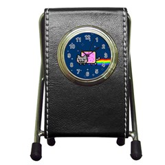 Nyan Cat Pen Holder Desk Clocks by Onesevenart