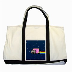Nyan Cat Two Tone Tote Bag by Onesevenart