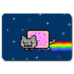 Nyan Cat Large Doormat  by Onesevenart