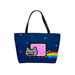 Nyan Cat Shoulder Handbags by Onesevenart