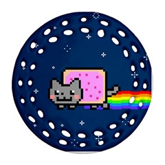 Nyan Cat Round Filigree Ornament (two Sides) by Onesevenart