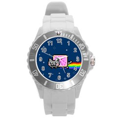Nyan Cat Round Plastic Sport Watch (l) by Onesevenart