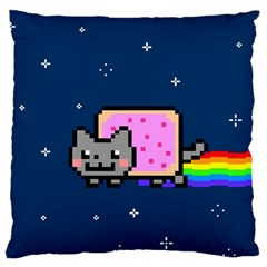 Nyan Cat Large Cushion Case (two Sides) by Onesevenart