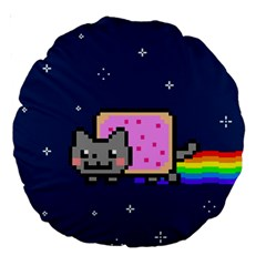 Nyan Cat Large 18  Premium Round Cushions by Onesevenart