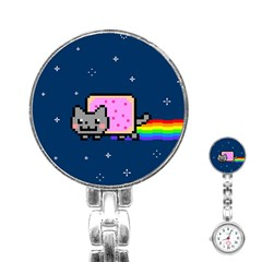 Nyan Cat Stainless Steel Nurses Watch by Onesevenart