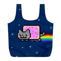 Nyan Cat Full Print Recycle Bags (l)  by Onesevenart
