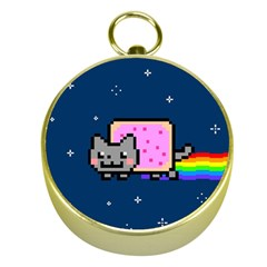 Nyan Cat Gold Compasses by Onesevenart