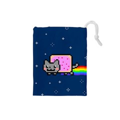 Nyan Cat Drawstring Pouches (small)  by Onesevenart