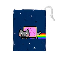 Nyan Cat Drawstring Pouches (large)  by Onesevenart