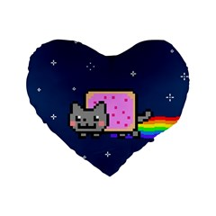 Nyan Cat Standard 16  Premium Flano Heart Shape Cushions by Onesevenart