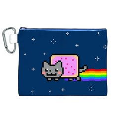 Nyan Cat Canvas Cosmetic Bag (xl) by Onesevenart