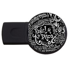 Panic ! At The Disco Lyric Quotes Usb Flash Drive Round (4 Gb) by Onesevenart