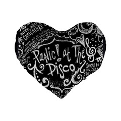 Panic ! At The Disco Lyric Quotes Standard 16  Premium Flano Heart Shape Cushions by Onesevenart