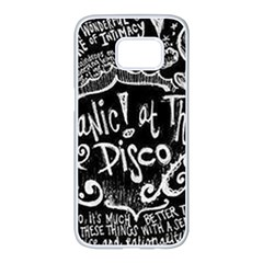 Panic ! At The Disco Lyric Quotes Samsung Galaxy S7 Edge White Seamless Case by Onesevenart