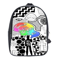 Panic ! At The Disco School Bags(large)  by Onesevenart