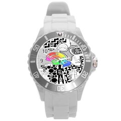 Panic ! At The Disco Round Plastic Sport Watch (l) by Onesevenart