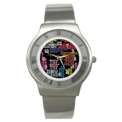 Panic At The Disco Northern Downpour Lyrics Metrolyrics Stainless Steel Watch by Onesevenart
