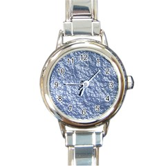 Crumpled Foil 17d Round Italian Charm Watch
