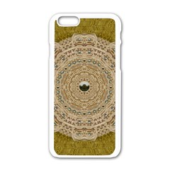 Golden Forest Silver Tree In Wood Mandala Apple Iphone 6/6s White Enamel Case by pepitasart