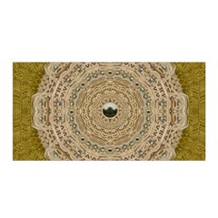 Golden Forest Silver Tree In Wood Mandala Satin Wrap by pepitasart