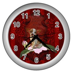 Sweet Little Chihuahua Wall Clocks (silver)  by FantasyWorld7
