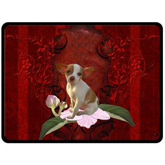 Sweet Little Chihuahua Fleece Blanket (large)  by FantasyWorld7