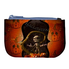 Halloween, Funny Mummy With Pumpkins Large Coin Purse by FantasyWorld7