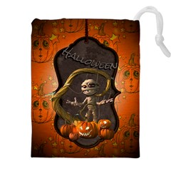 Halloween, Funny Mummy With Pumpkins Drawstring Pouches (xxl) by FantasyWorld7