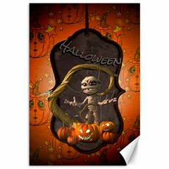 Halloween, Funny Mummy With Pumpkins Canvas 12  X 18   by FantasyWorld7